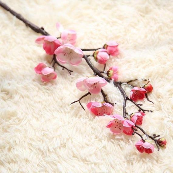 6pcs Viel Kunstliche Pflaume Blute 60cm Blumenschmuck Dass Etsy Artificial Silk Flowers Fake Flowers Artificial Flowers