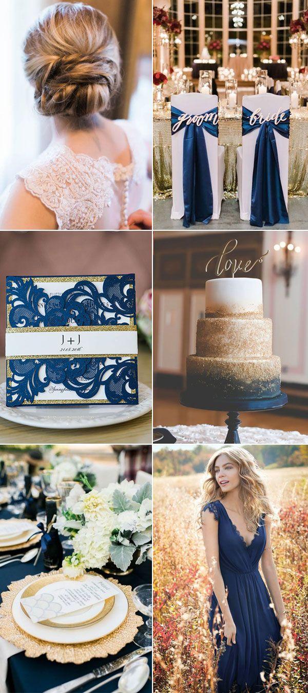 Winter wedding inspiration top ewi glittery navy blue wedding