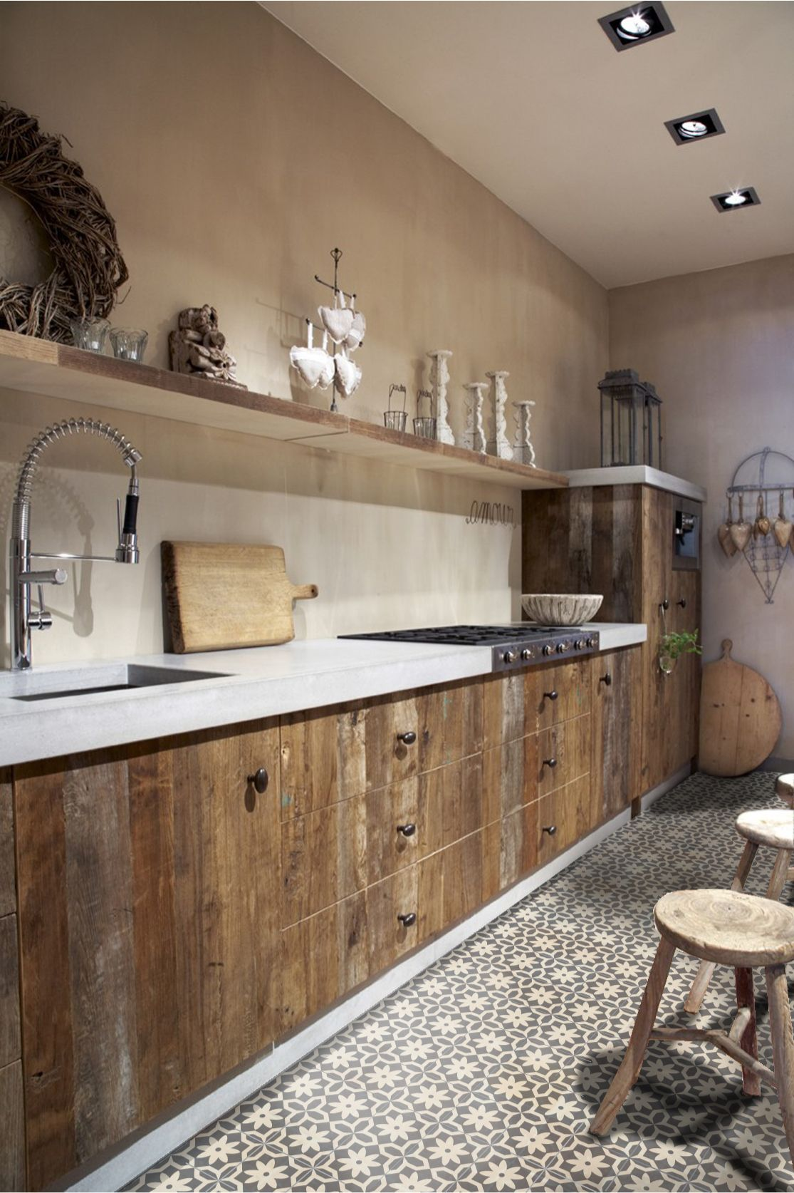 The floor tiles make a great accent to this simple/plain kitchen. #LGLimitlessDesign & #Contest