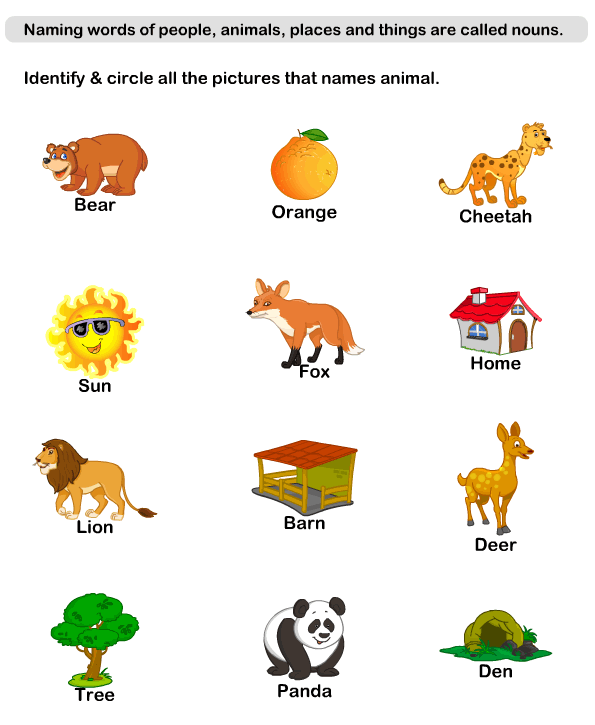 Noun Worksheets For Kindergarten free printable english grammar – Nouns Worksheets for Kindergarten