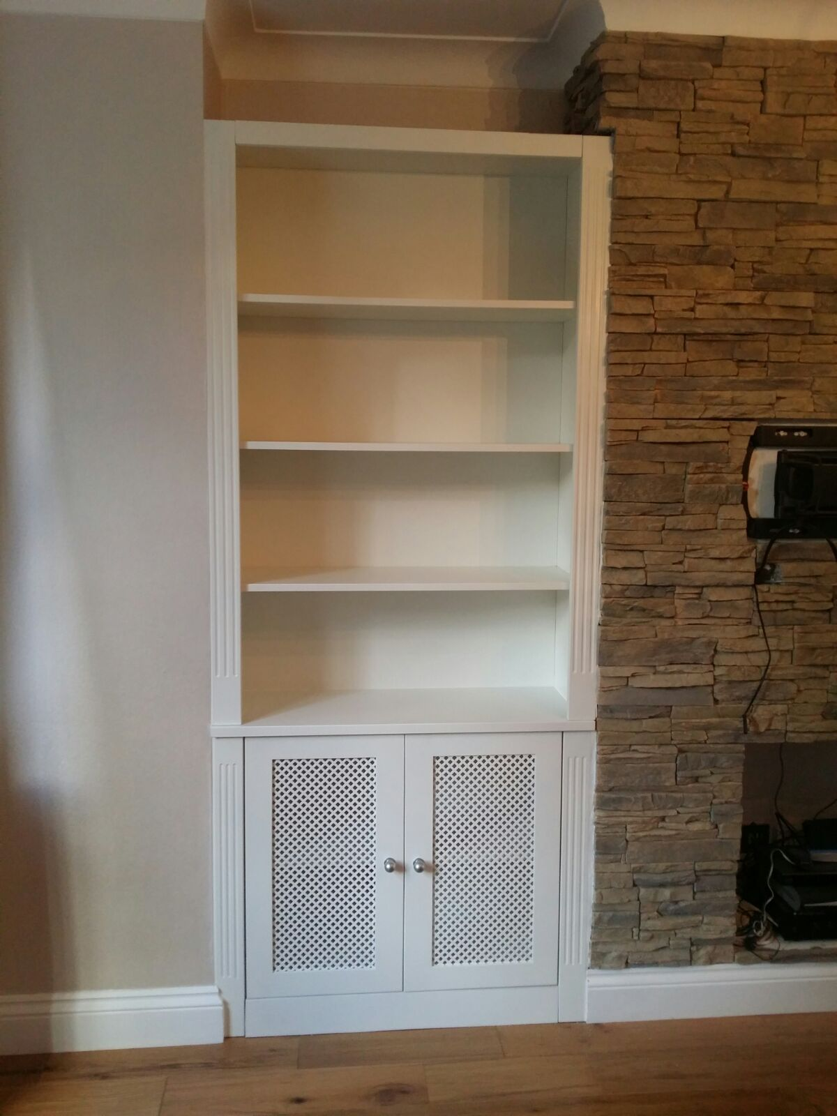 Cabinet With A Radiator Cover And Bookcase Above Radiator Cover