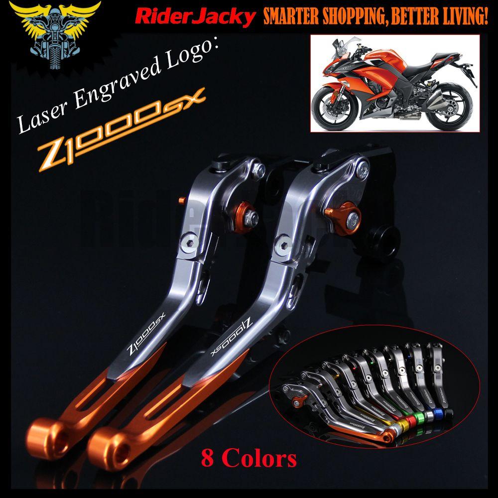 8 Colors With Logo OrangeTitanium CNC FoldingExtending Motorcycle Brake Clutch Lever For Kawasaki Z1000 SX Z1000SX