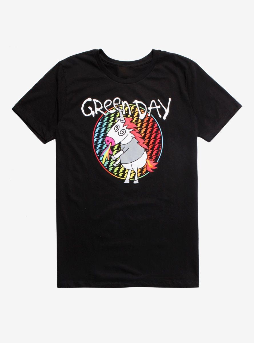 Green Day T Shirt Checker Unicorn Official Black Mens Unisex Tee NEW Punk Rock