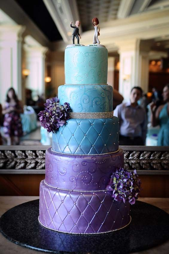 Gallery For Blue And Purple Wedding Cakes