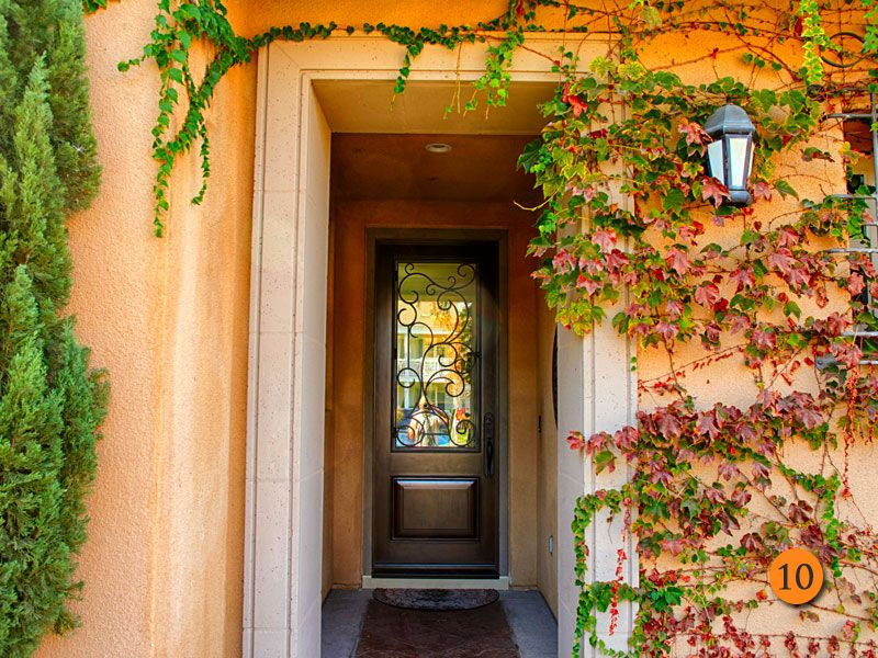 After 36 By 8 Foot Tall Decorative Entry Door Jeld Wen Aurora Mahogany Grain Sable Finish And No Decorative Entry Doors Entry Doors Fiberglass Entry Doors