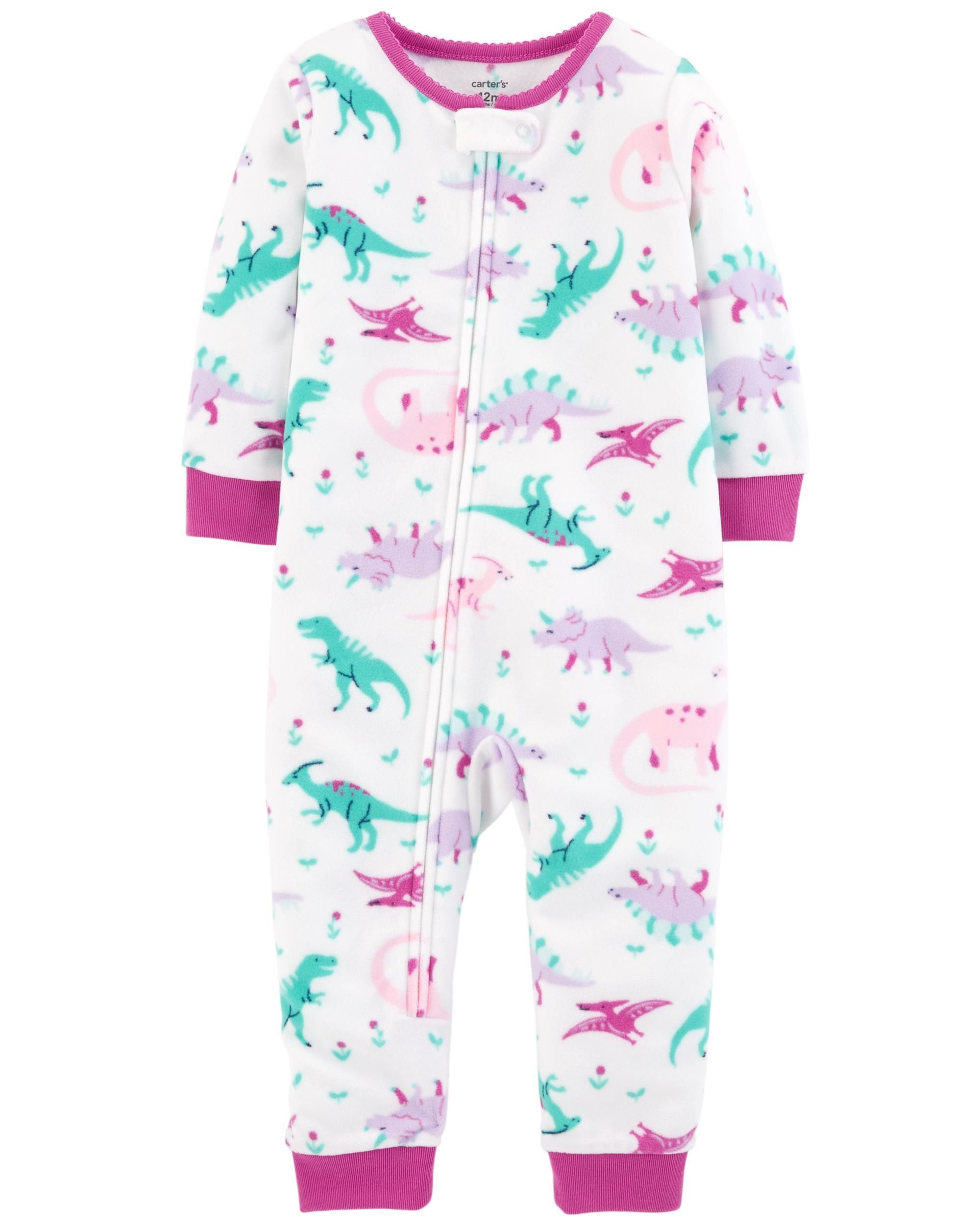 c099ed0d2 1-Piece Dinosaur Fleece Footless PJs