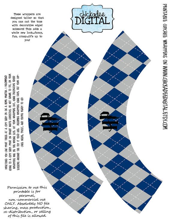 Instant Download Printable Cupcake Wrappers Ravenclaw House Colors