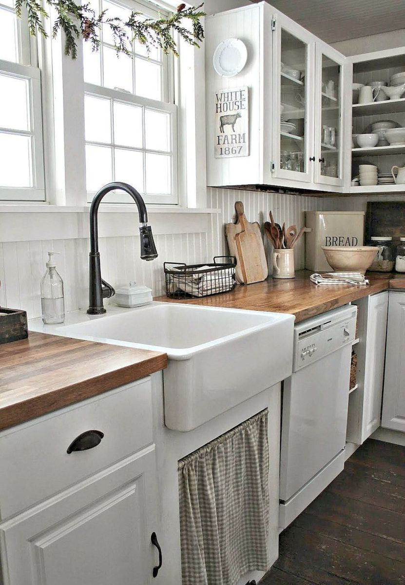 60 fancy farmhouse kitchen backsplash decor ideas (20) | Farmhouse ...