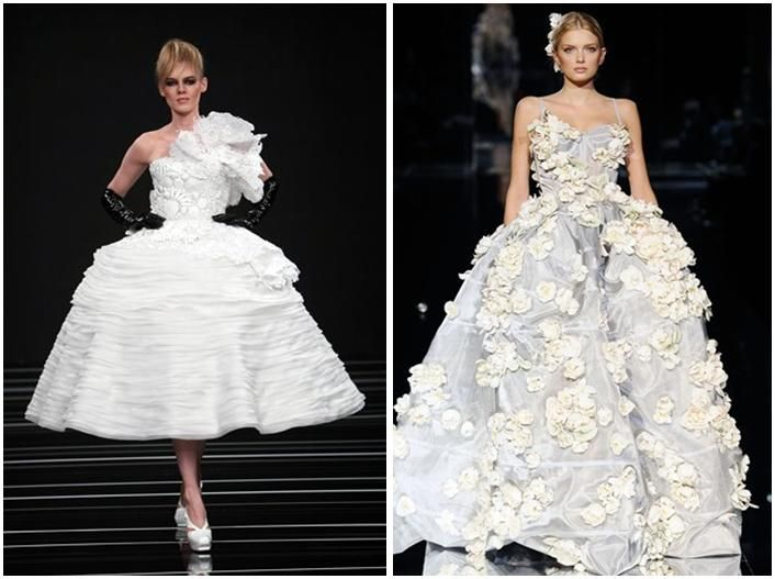These White Wedding Dresses With Very Full Skirts And Flower Or Rosebud Details Are
