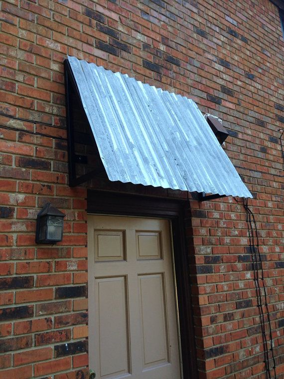 Custom Vintage Awnings With Galvanized Roof Panels 48 X 16 X 32 Tall On Etsy 435 00 Metal Awning Metal Roof Panels Custom Metal Work