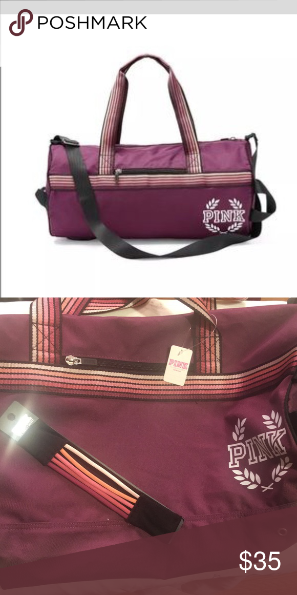 d4eaad57f3f412 PINK maroon duffle bag. 💞NWT! Maroon PINK duffle bag.. comes with head  band. Thanks for looking.😊 ‼️no trades. PINK Victoria's Secret Bags Travel  Bags