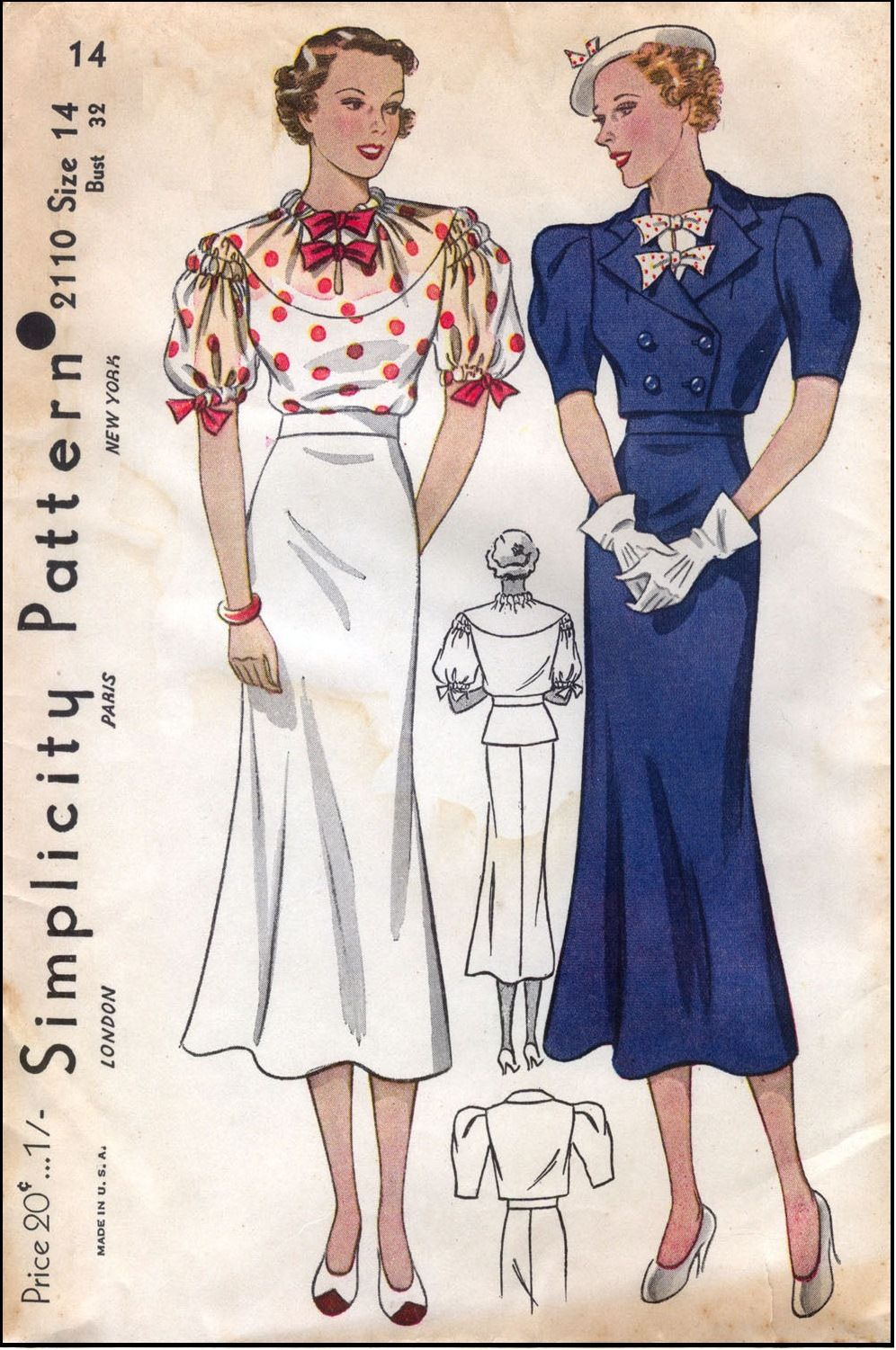 Simplicity #2110 - 1930 Ladies Day Ensemble Sewing Pattern ~ SO Cute ...