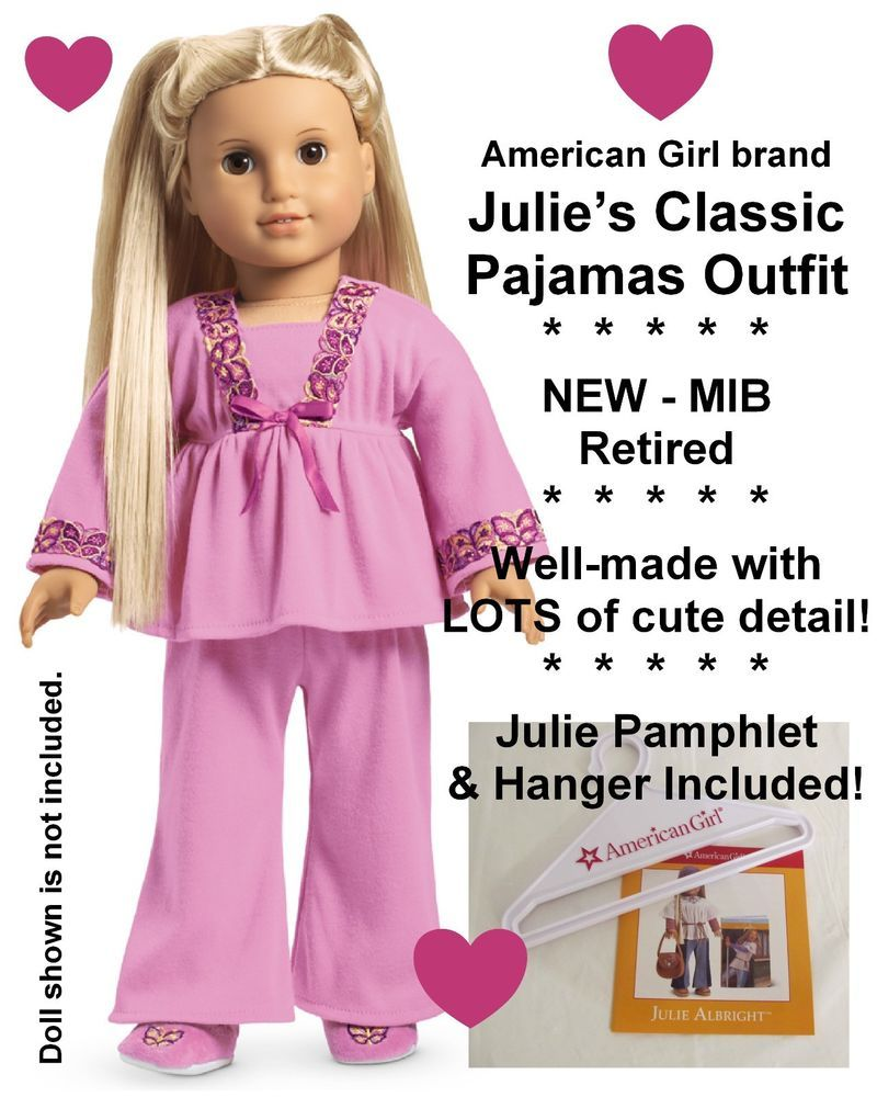 Retired Butterfly Pajamas American Girl Doll Julie/'s Classic Pink PJs  NEW!
