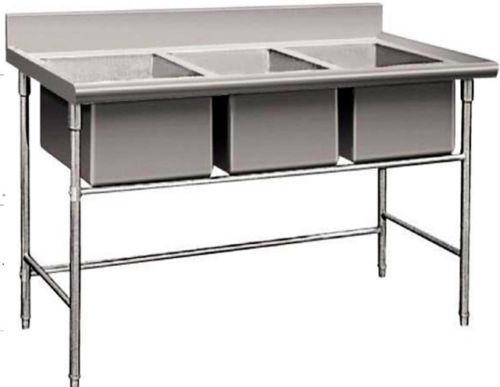 3 Compartment Commercial Stainless Steel Triple Sink Wash Basin