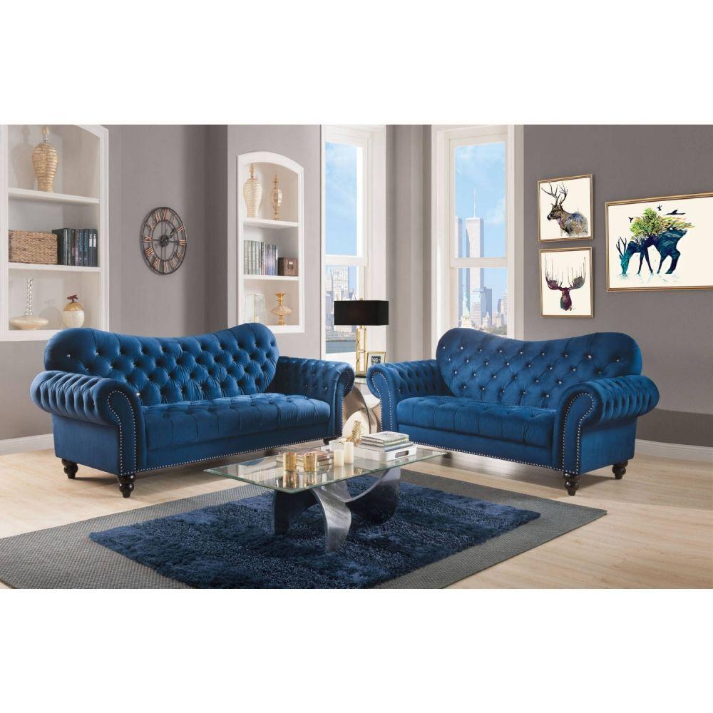 Acme Furniture 53407 Iberis Loveseat Tufted Navy Blue Velvet In 2021 Blue Velvet Sofa Living Room Blue And Pink Living Room Velvet Sofa Living Room