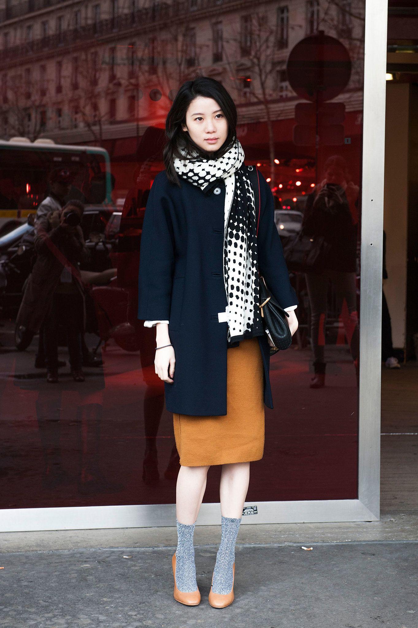 Socks and pumps. Streetstyle Paris Fashion Week Fall 2014