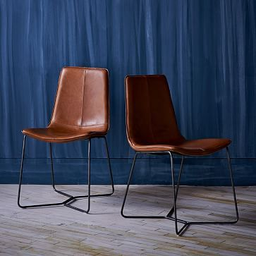 Leather Slope Dining Chair Westelm Back Room Office