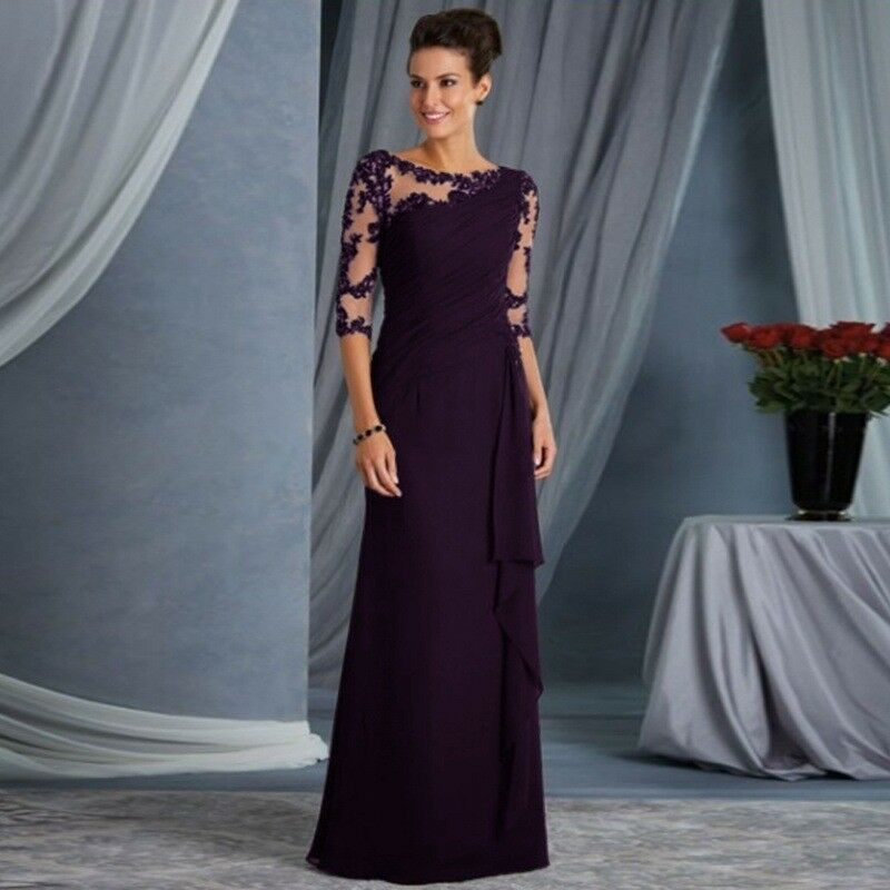 Women/'s Elegant Lace Long Formal Evening Party Dresses Cocktail Prom Gowns Maxi