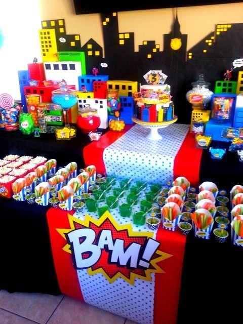 superhero pop art comic birthday party ideas cumple de noah ideas pinterest fiestas. Black Bedroom Furniture Sets. Home Design Ideas