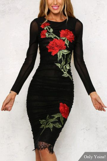 Black See Through Lace Trim Rose Embroidery Pattern Long