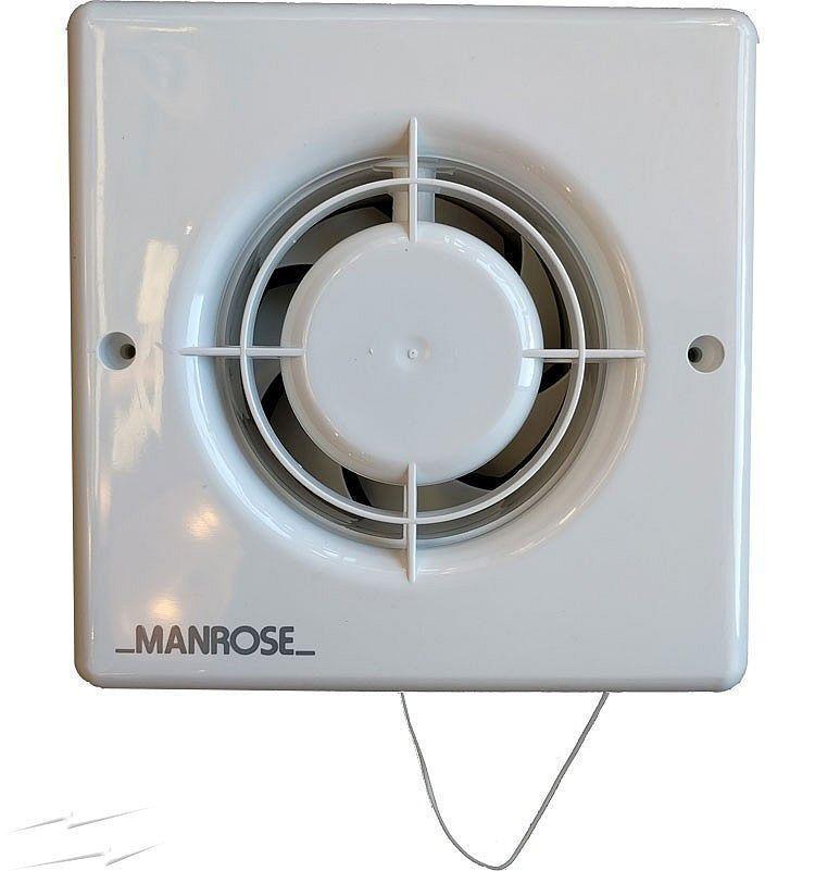 "Bathroom Extractor Fan manrose xf100p 4"" bathroom extractor fan with pull cord"