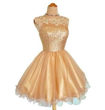 Unique gold sequin lace tutu puffy high neck prom dresses in short ...