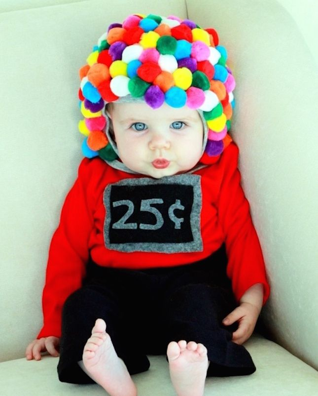 halloween ideas use pom poms felt to diy this baby gumball machine costume - How To Make Homemade Costumes For Halloween