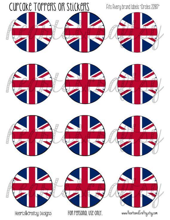 UK Party British Flag Union Jack Printable Cupcake Toppers Tea Cake