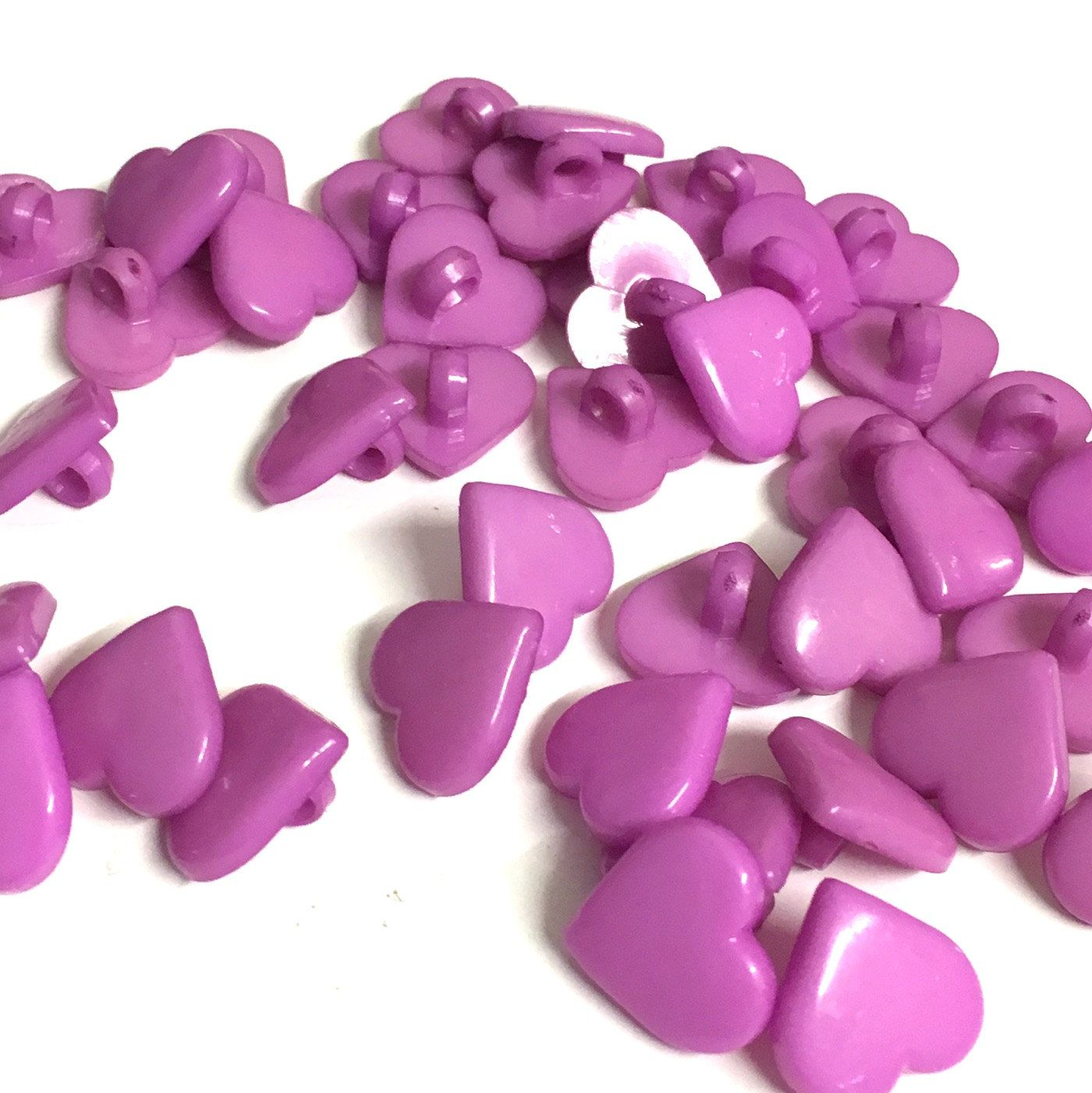 Purple heart shaped buttons, pack of 10, plastic buttons