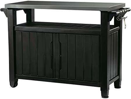 Amazon Com Keter Unity Xl Indoor Outdoor Entertainment Bbq Storage Table Prep Station Serving Cart With Patio Storage Grill Table Outdoor Kitchen Appliances