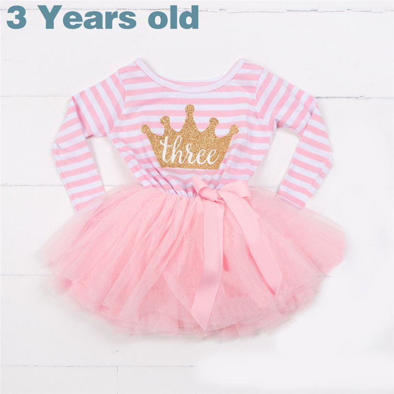 db3c8a9756c8 Winter Baby Girl Baptism Dress Clothes For Newborn Infant 1 2 3 Year  Birthday Party Dress Gift Long Sleeve Striped Baby Dresses