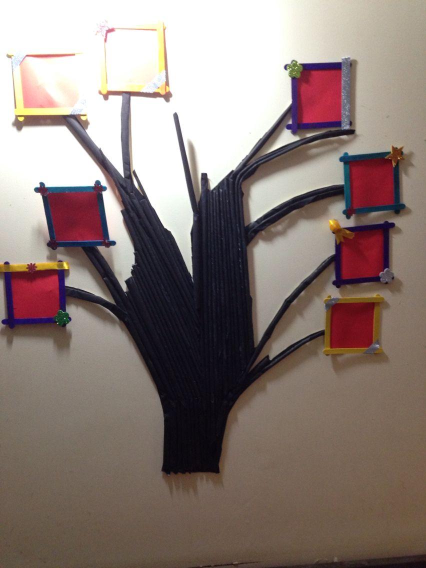 Tree Photo Frame By Me Made With Newspaper Icecream Sticks