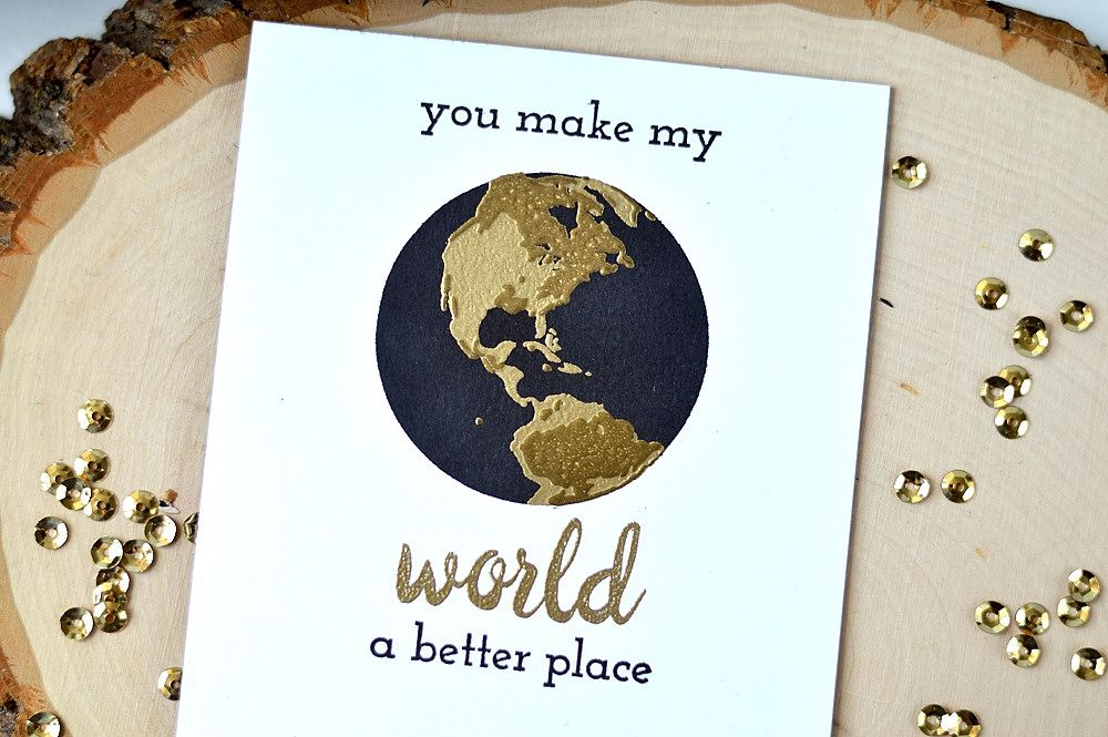 Don't be fooled by this simple card - it features double-embossing using our newest stamp set, Big World. Check out our blog for more info. http://www.altenew.com