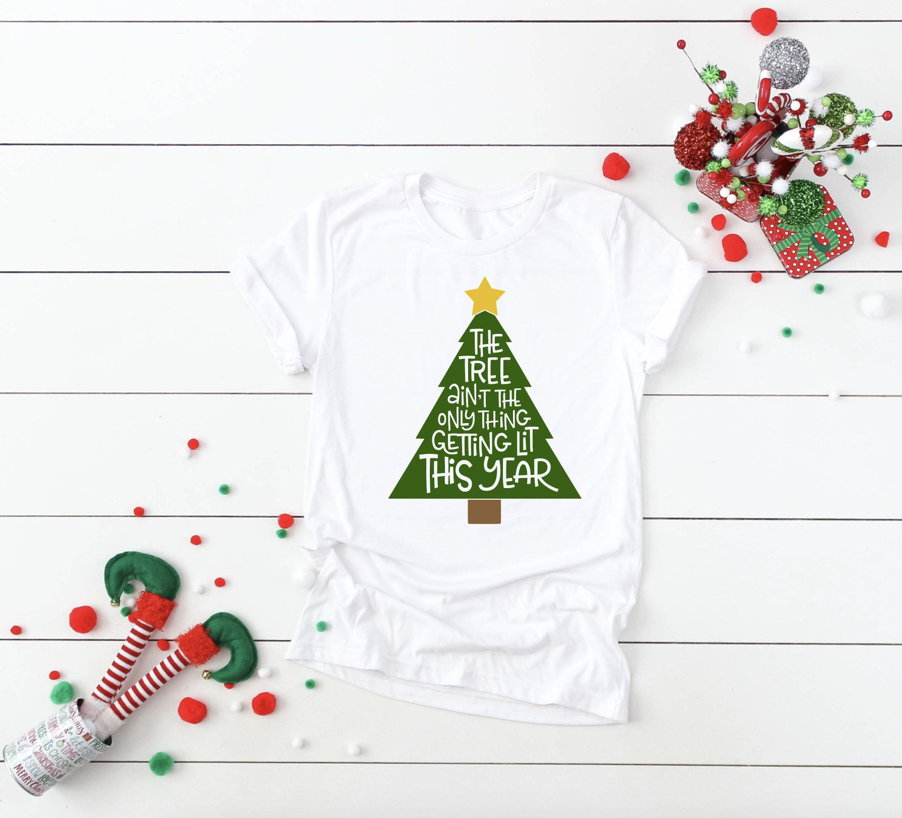 The Tree Ain T The Only Thing Getting Lit This Year Shirt Funny Xmas Christmas Party Gift Office Party Shirt Christmas Shirt Christmas Shirts Christmas Party Gift Gifts For Office
