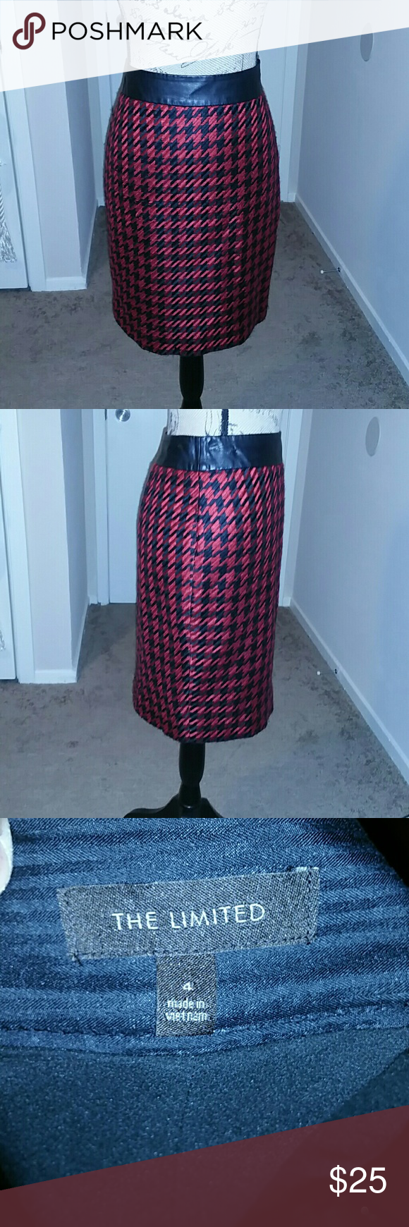 The Limited Skirt Houndstooth Style SMALL Beautiful skirt by The Limited. Red and Black Houndstooth design. Feux Black Leather around the wait. Measurements: 15 inches Waist, 21 inches Length. Pair it with a red sweater.  No stains or tears. ***Sweater sold separately*** The Limited Skirts Mini
