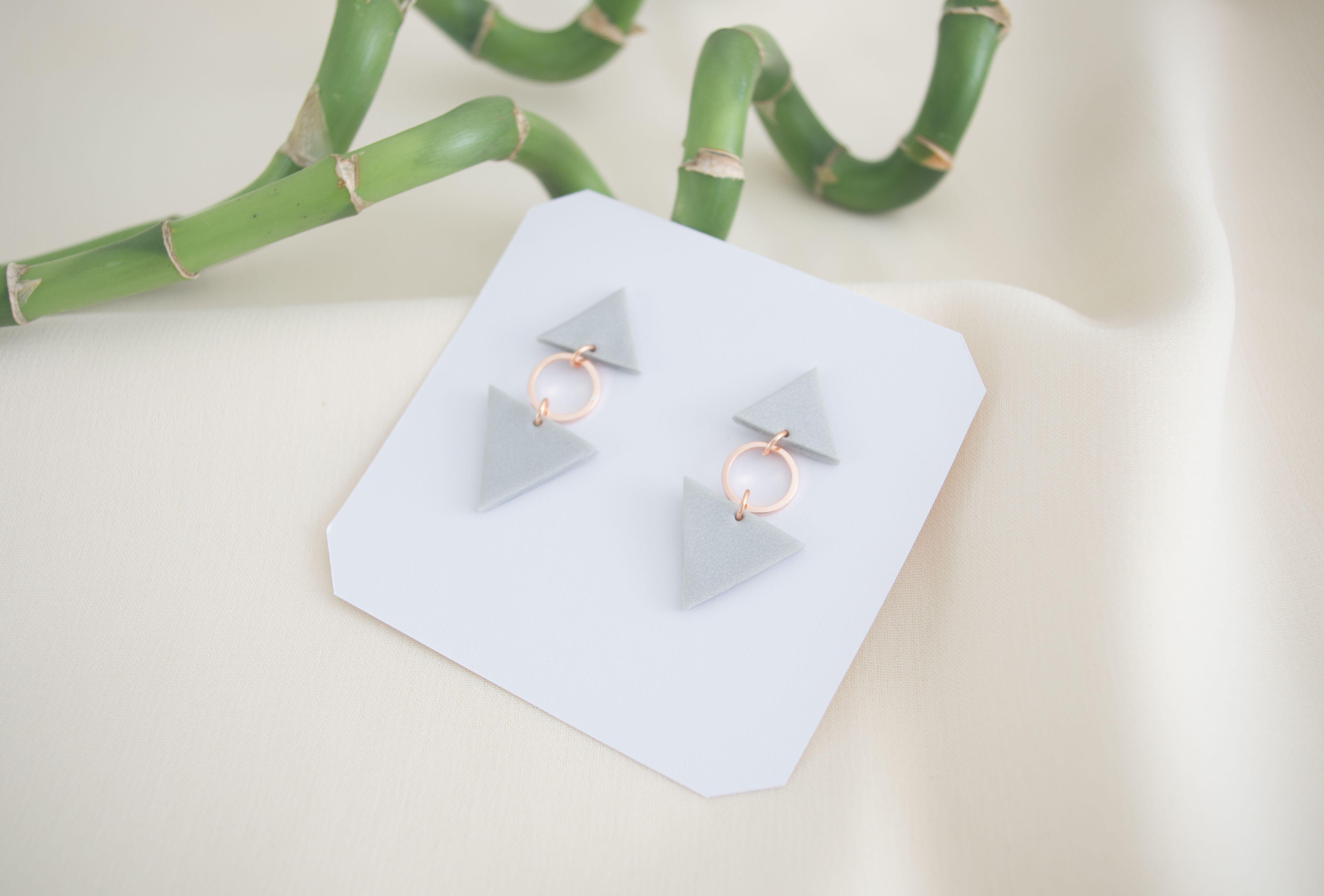 Handmade Clay Earrings  Modern  Rose  Geometric