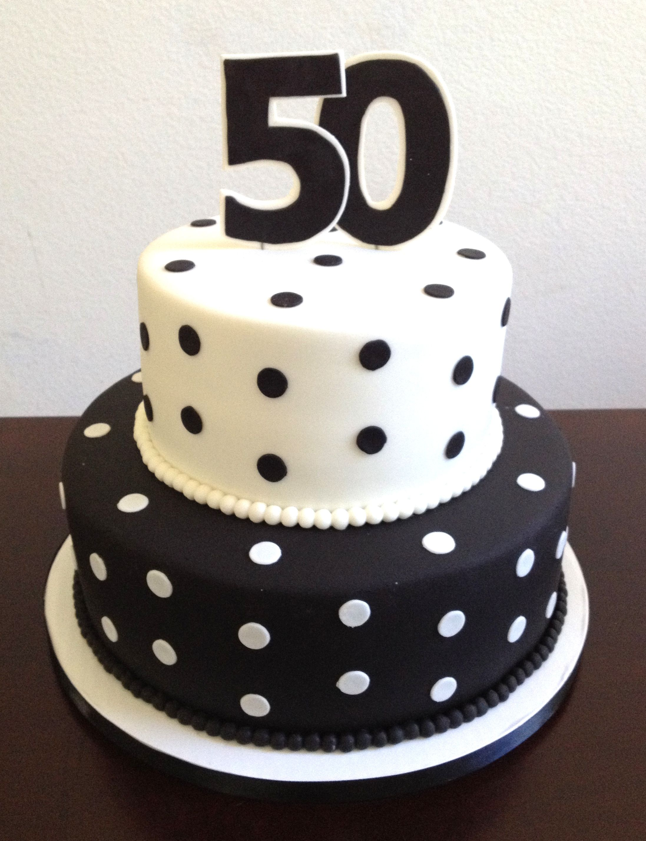 Pleasing Black And White Polka Dot 50Th Birthday Cake 50Th Birthday Cake Funny Birthday Cards Online Ioscodamsfinfo