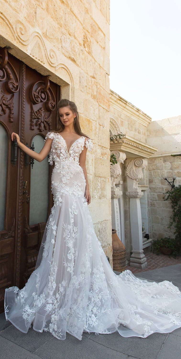 Sleeveless v neckline 3d floral applique a line wedding dress : Eva Lendel Wedding Dress #weddingdress #wedding #weddinggown