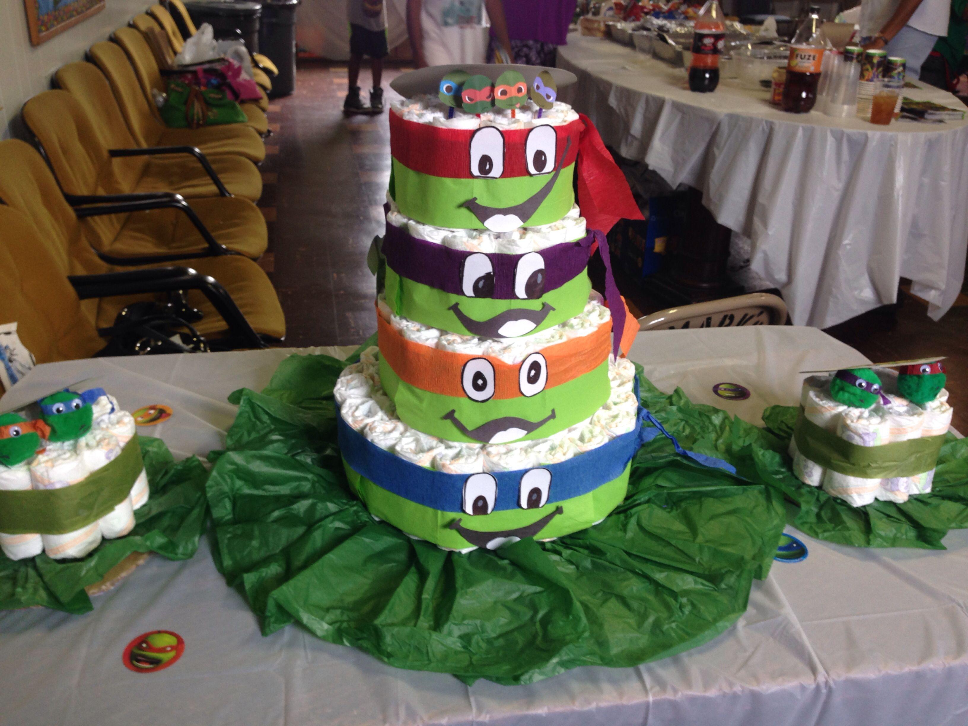 Attractive Ninja Turtle Themed Diaper Cake · Ninja TurtlesBoy Baby ShowersDiaper Cakes