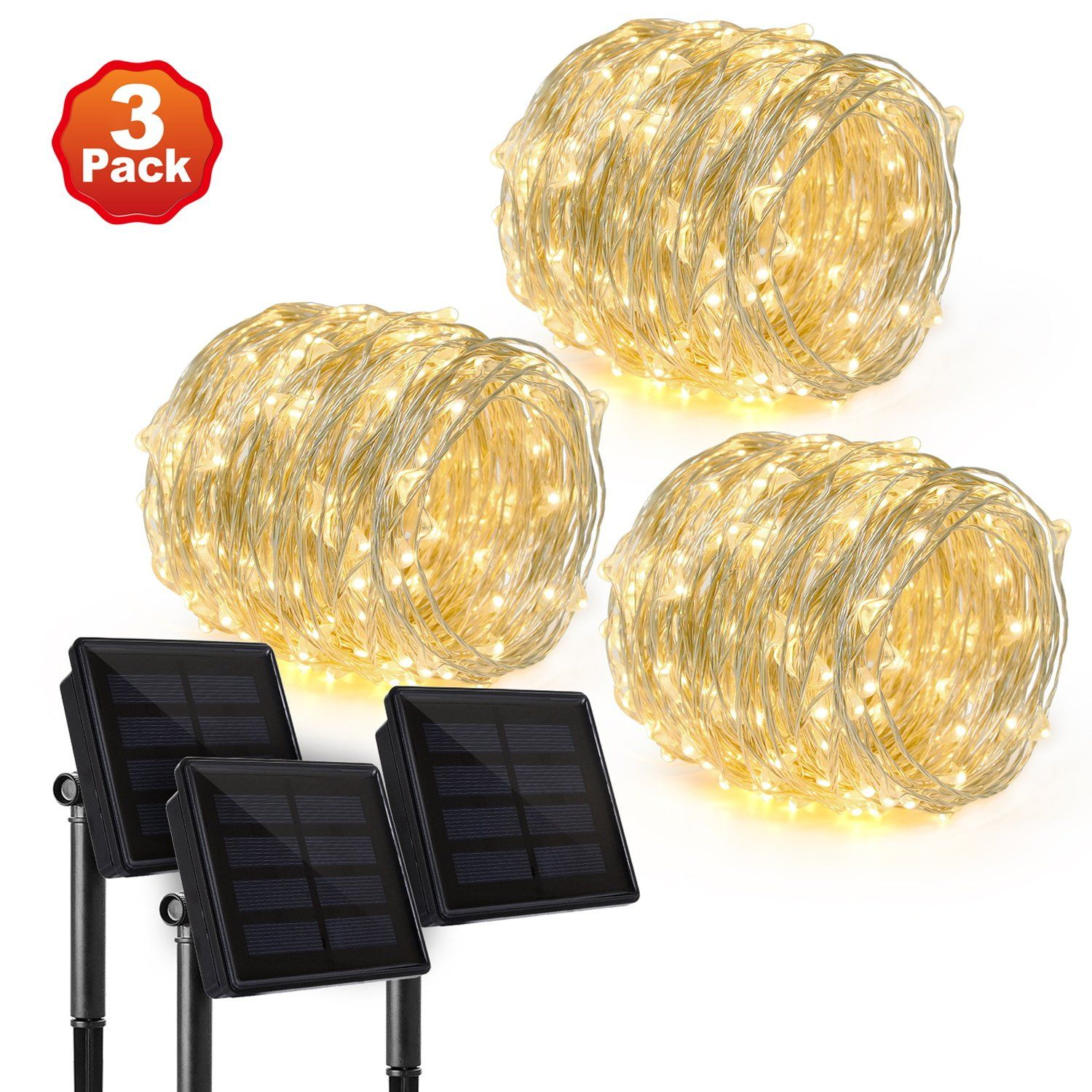 3 Pack Upgraded Rophie 200 Leds Solar String Lights 72 Ft 22m Wiring Garden Powered Copper Wire Outdoor Waterproof Warm White
