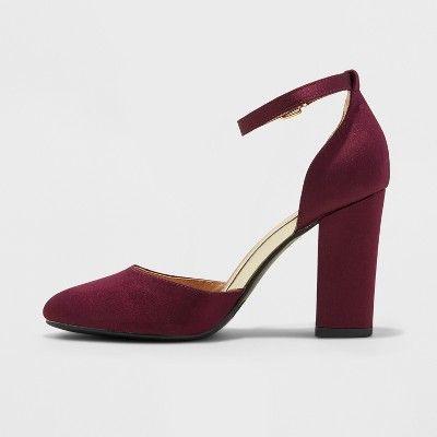 b6514a0b61b8 Women s Eloisa Satin Mary Jane Heel Pumps - A New Day Burgundy (Red ...