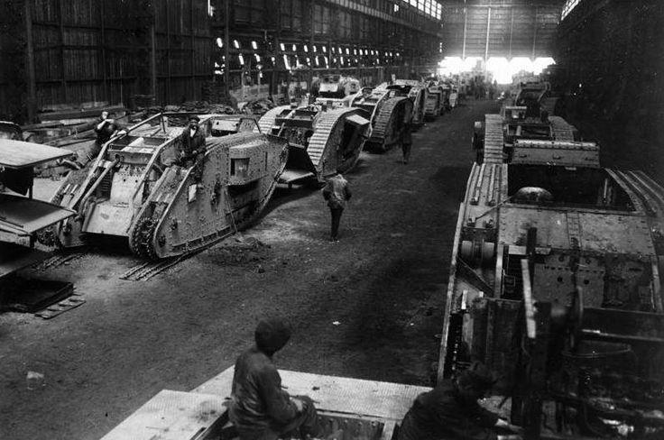 Rows of captured British tanks in the German tank workshops at Charleroi, December 1917