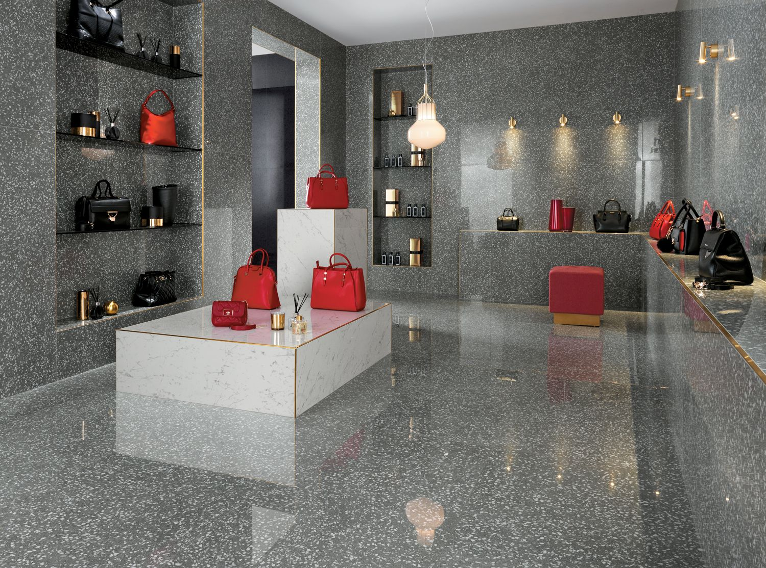 A Porcelain Tile That Combines Together The Venetian Terrazzo Effect