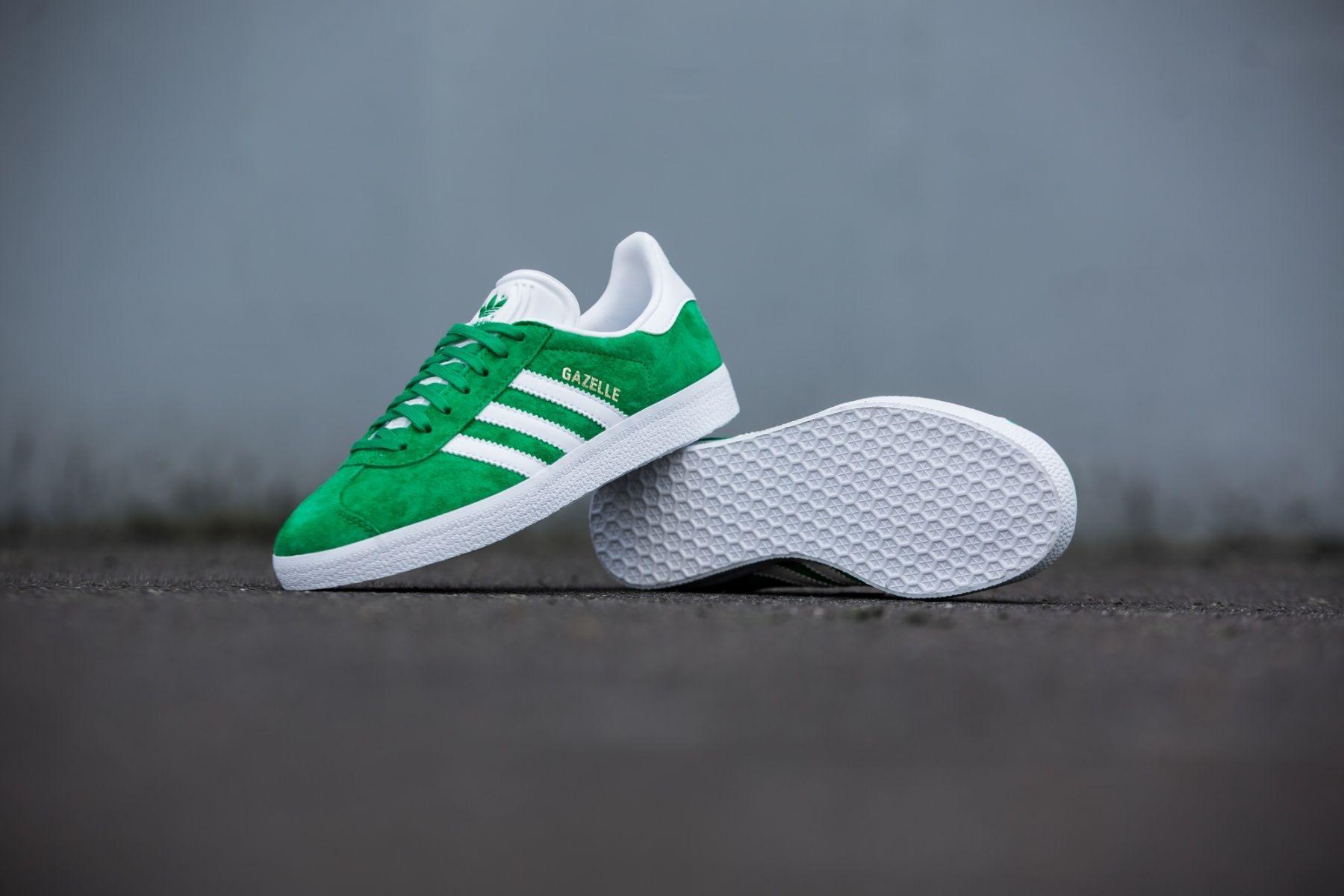 Adidas Mens Gazelle Green White Gold