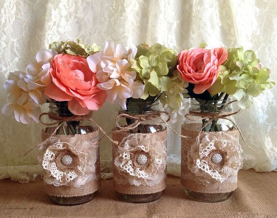 Rustic burlap and lace covered mason jar vases wedding