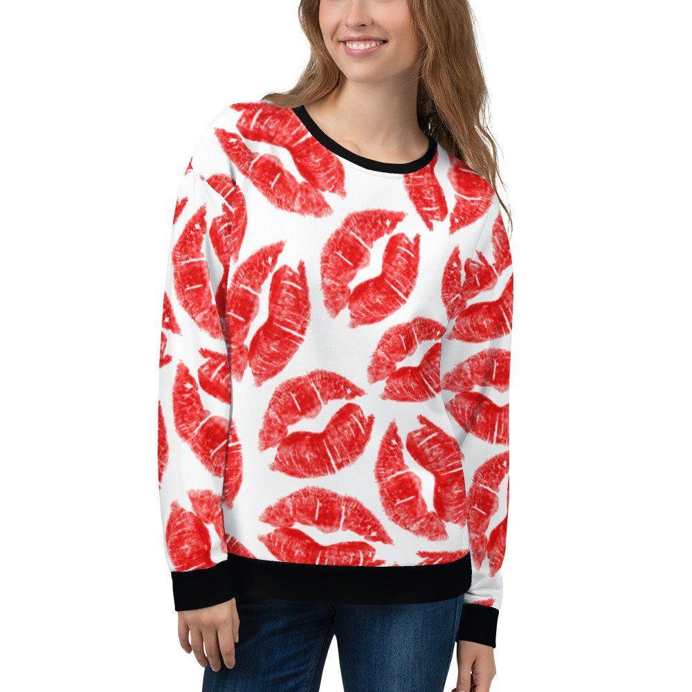 Red Lipstick Kisses Sweatshirt Lip Stain Kissing Makeup Cute Sassy