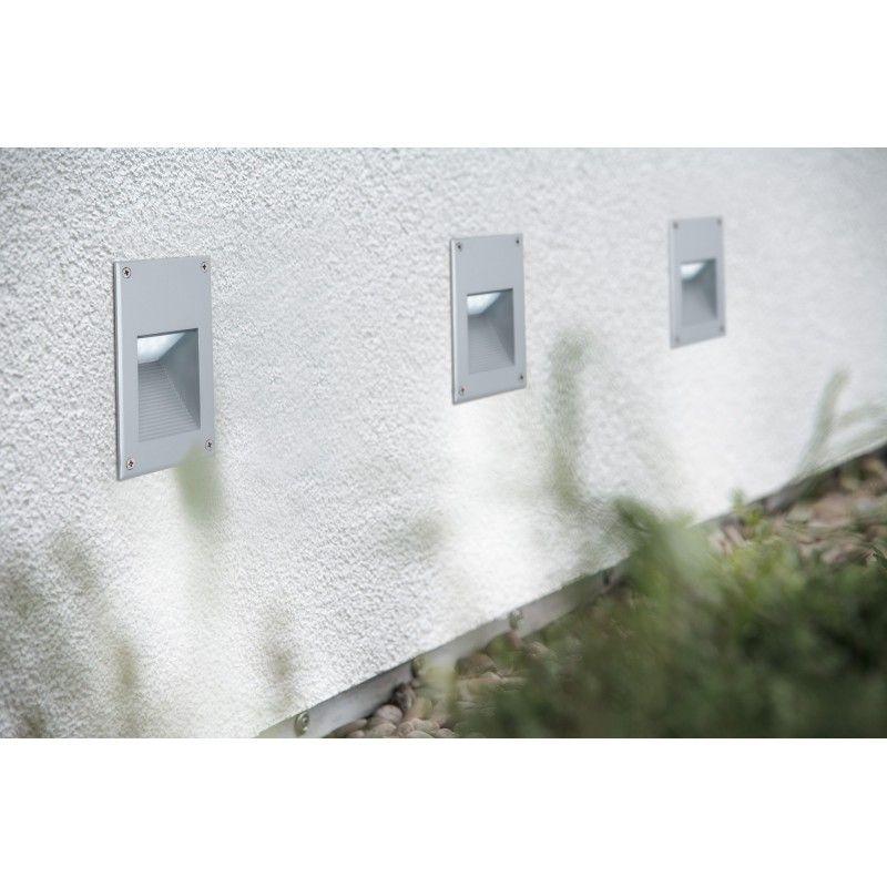 encastr mural led 2 4w ext rieur rectangle alu clairage vers le bas laspoterie spot et. Black Bedroom Furniture Sets. Home Design Ideas