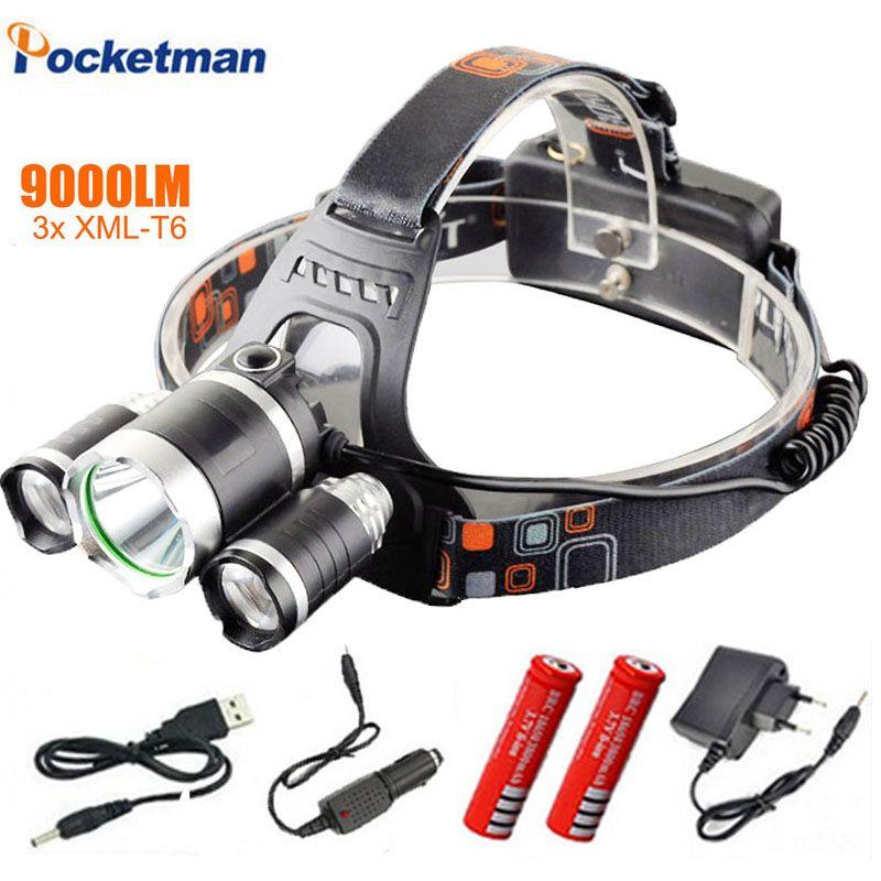 Led 3x Xm 3 T6 Lampe Phare L Frontale 9000 Lumen DE9H2I