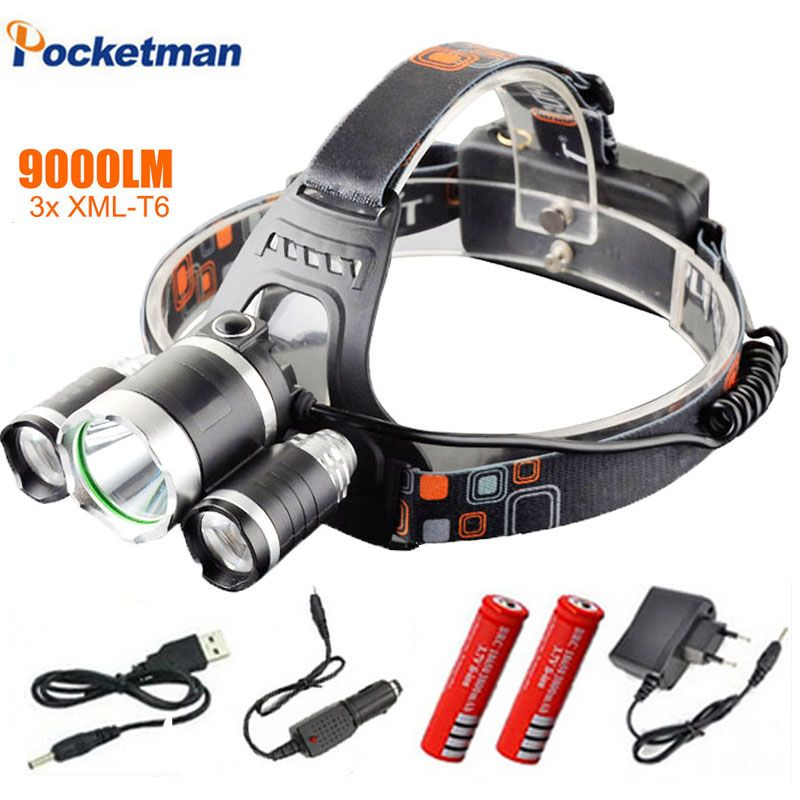 Led Headlight 9000 Lumen 3 T6 Headlamp 3x Xm L T6 Led Head Lamp Flashlight Head Torch Headlamp For Camping Hunting Fishing Led Headlights Headlamp Flashlight