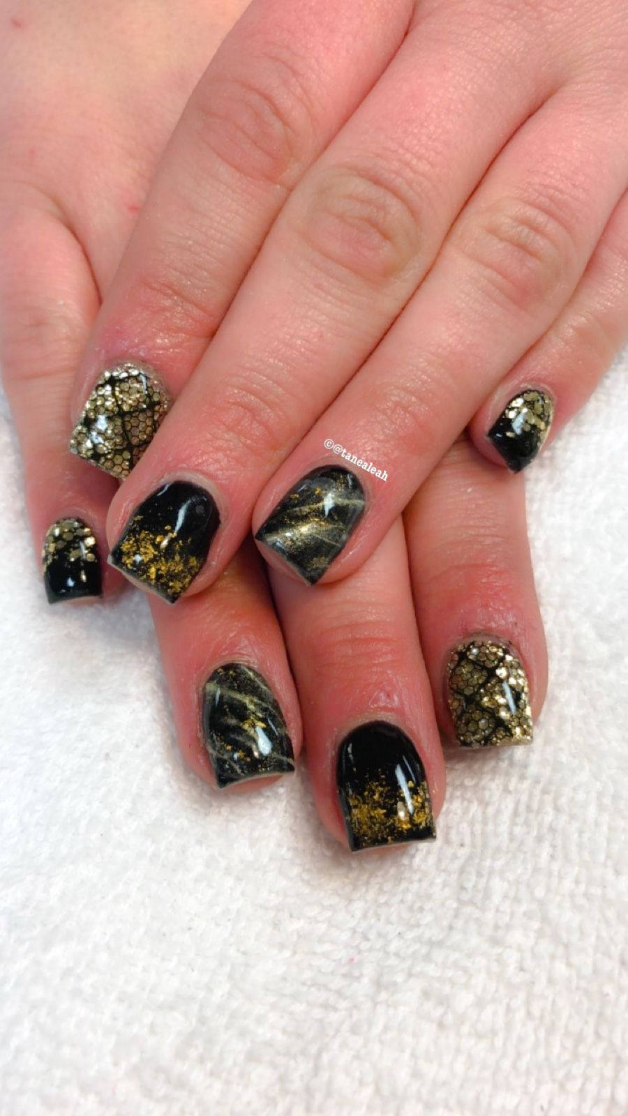 New Years Nails. Glitter nails. Gold and black. Gel nails ...